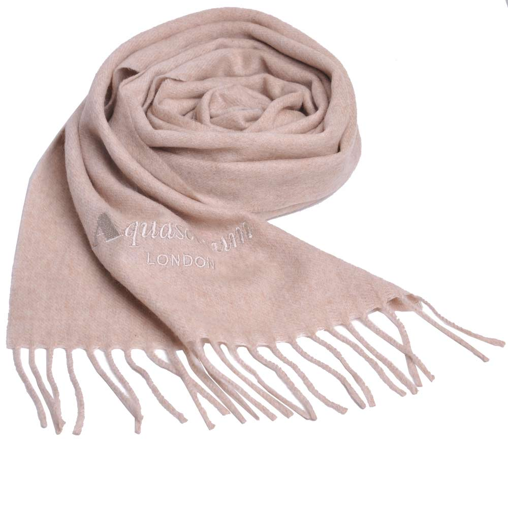 Aquascutum 義大利製100%喀什米爾經典品牌LOGO刺繡圍巾(麥芽色)