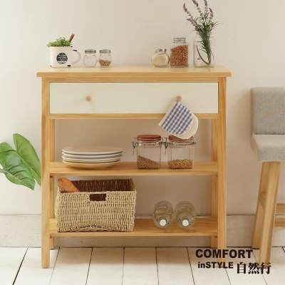 CiS自然行實木家具 電器櫃-碗盤櫃-雜貨櫃-置物櫃W90cm(原木象牙白色)
