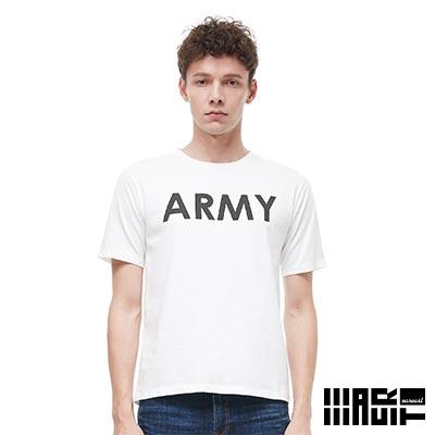 EAR EAST 男款 ARMY印花圓領短袖上衣-米白--動態show