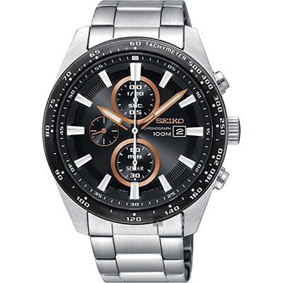 SEIKO精工 Criteria 太陽能計時碼錶(SSC649P1)-黑x銀/43mm