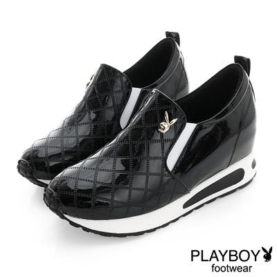 PLAYBOY 華麗冒險 菱格漆皮內增高休閒鞋-黑(女)