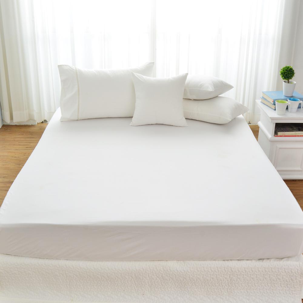 Cozy inn 簡單純色-白-200織精梳棉床包(加大)