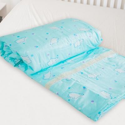 米夢家居-台灣製造-100%精梳純棉兩用被套-北極熊藍綠-單人
