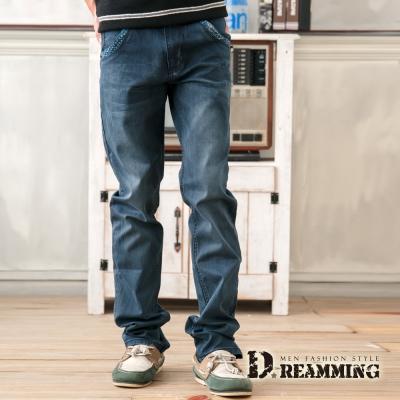 Dreamming 日系剪接幾何印花單寧中直筒褲