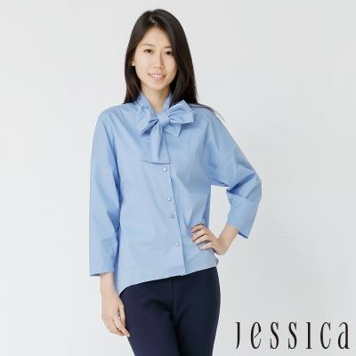 JESSICA-復古優雅領結襯衫(藍)
