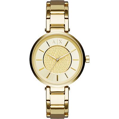 A│X Armani Exchange 品牌字母浮雕腕錶-金/38mm