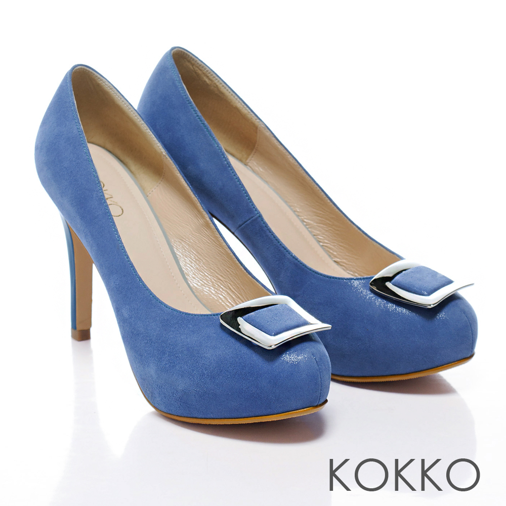KOKKO經典手工‧新潮亮眼方釦羊皮高跟鞋 - 飽和藍