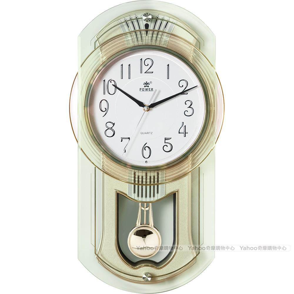 POWER霸王鐘錶-旋轉音樂掛鐘-香檳金-PW-6126-APMKS-48.6CM