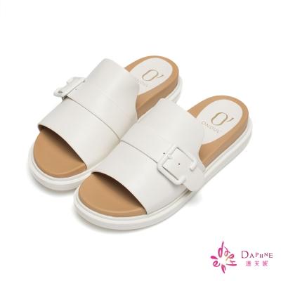 達芙妮x高圓圓 圓漾系列橫釦帶裝飾厚底拖鞋-率性白