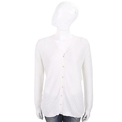 ALLUDE 白色竹節編織長袖針織小外套