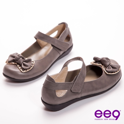 ee9-優雅美人-金屬蝴蝶結魔術繫帶頂級雙色牛皮寬頭娃娃鞋-典雅灰