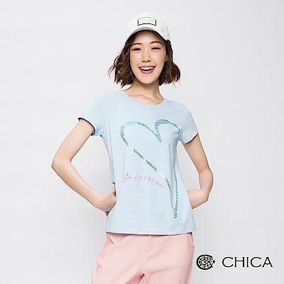 CHICA 閃耀甜心燙金字母設計上衣(3色)