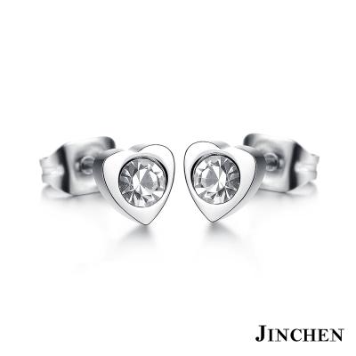 JINCHEN 白鋼愛心水鑽耳環 銀色