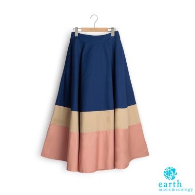 earth music 配色拼接後鬆緊腰設計長裙