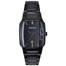 GOTO Laconic時尚腕錶-黑x玫/28mm