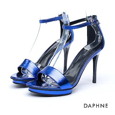 達芙妮DAPHNE 涼鞋-一字亮澤繞踝前高後高涼鞋-藍
