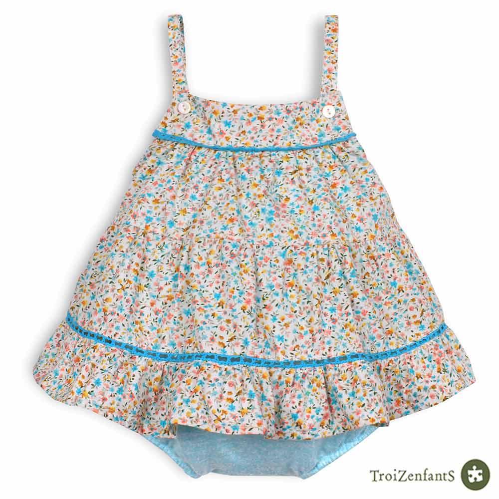TroiZenfantS 法國精品 青藍杜樂麗花園細肩帶包屁洋裝