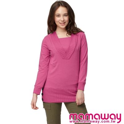 Mamaway-抽針深V哺乳假2件上衣-共三色