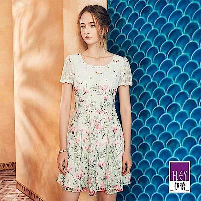 ILEY伊蕾 縷空蕾絲花卉印花圓領洋裝(綠)