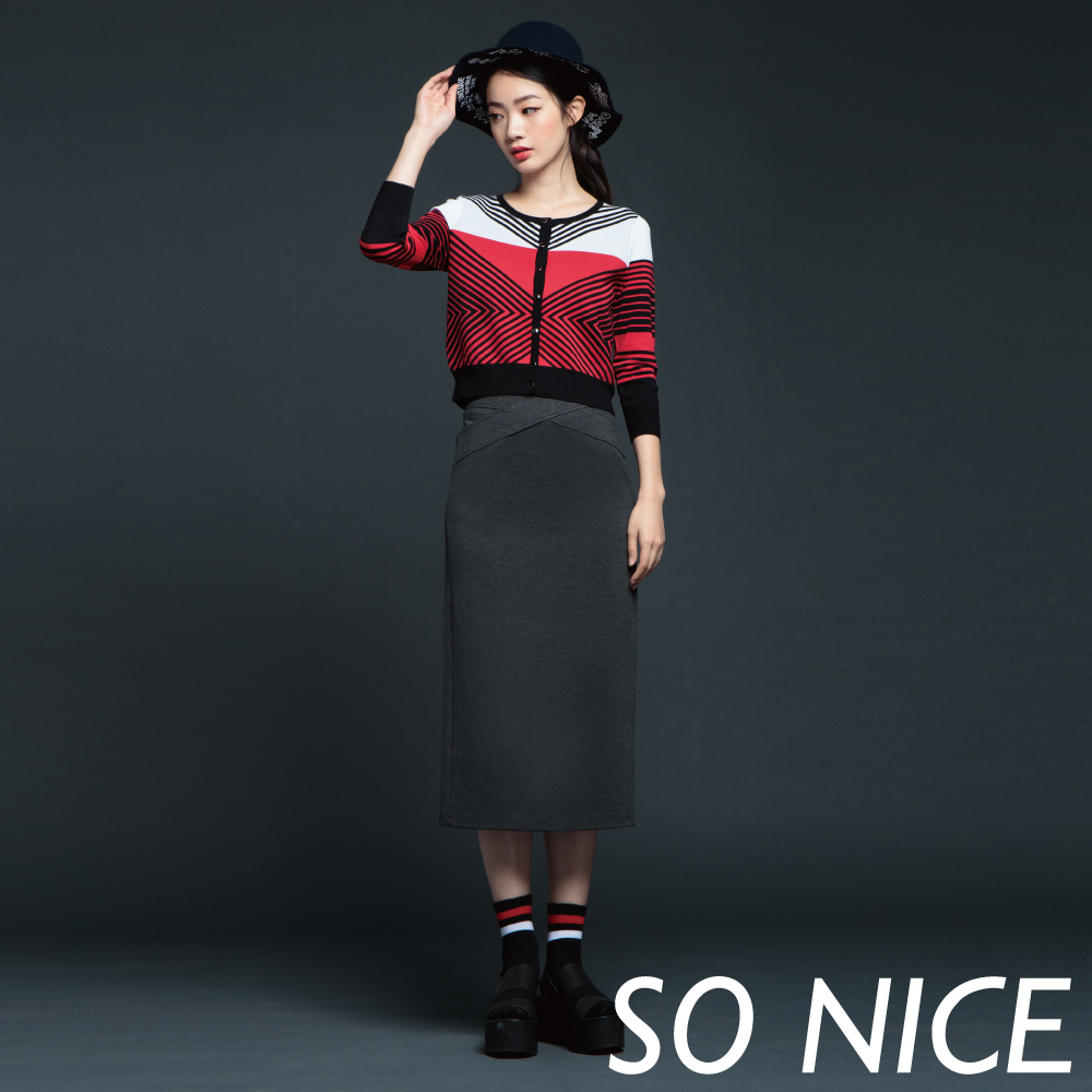 SO NICE交叉腰帶修飾長窄裙