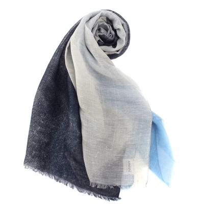 ARMANI COLLEZIONI 素面撞色混絲披肩圍巾-深灰/淺藍