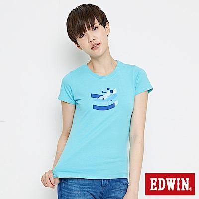 EDWIN 立體字型印花短袖T恤-女-水藍