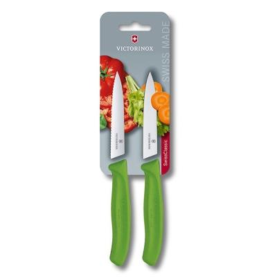 VICTORINOX瑞士維氏 水果刀(兩件裝)-綠