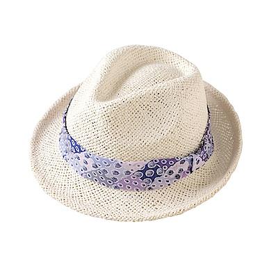 SOULEIADO 芙蓉花麥編草帽(紫羅蘭)