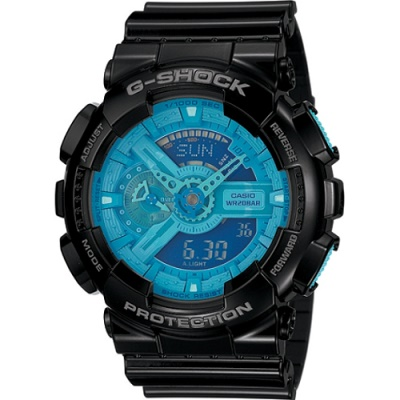 G-SHOCK 炫彩系列復刻版男錶(GA-110B-1A2)-黑x藍/55mm