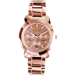 Relax Time 時尚達人日曆顯示腕錶-玫塊金/38mm R0800-16-33