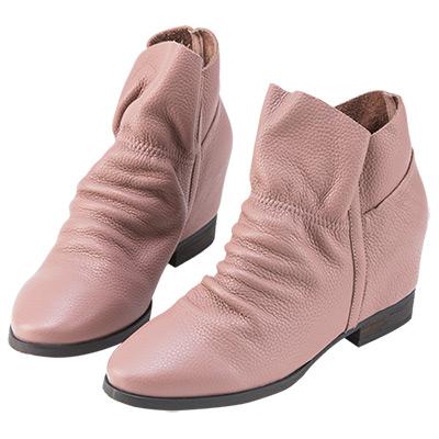 Robinlo Studio 抓皺荔枝紋牛皮休閒短靴 粉紅