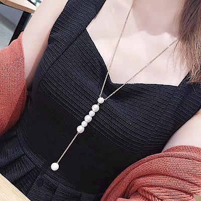 梨花HaNA  韓國華麗氣氛珍珠串飾一字長項鍊