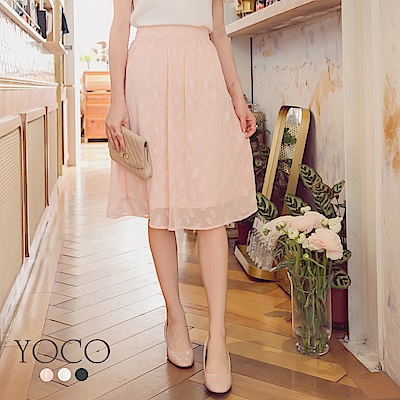 東京著衣-yoco 好女孩立體花紋百搭及膝裙-S.M.L(共三色)