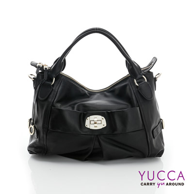 YUCCA - 十字扣牛皮手挽三用包-黑色 D012601