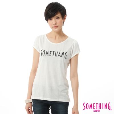 SOMETHING-T恤-銀蔥優雅燙箔圓領T-女-白色