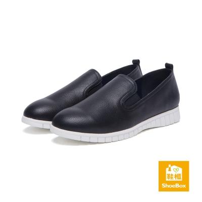 達芙妮DAPHNE-ShoeBox系列-懶人鞋-舒軟氣墊素面平底鞋-黑8H