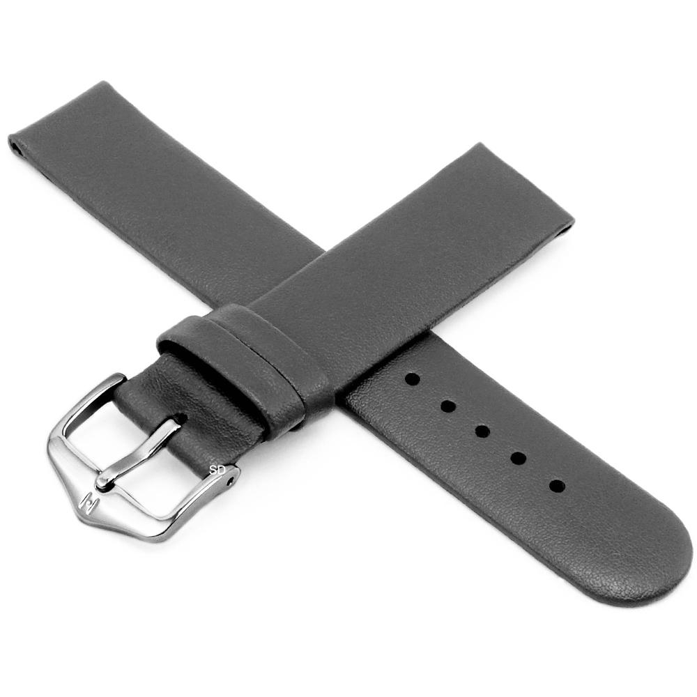 海奕施 HIRSCH Scandic M 設計感圓弧皮革錶帶 防水可清洗-灰