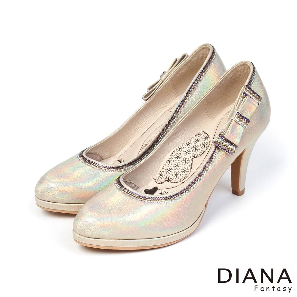 DIANA 超厚切LADY款--注目耀眼蝴蝶結跟鞋-金