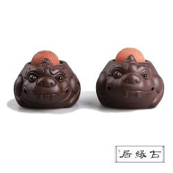 古緣居 吉祥獸紫砂茶寵擺飾(財源滾滾-成對)