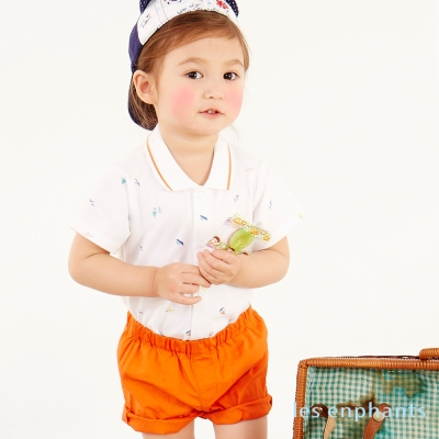 麗嬰房 les enphants baby小帆船POLO領包屁衣褲子二件組 桔色