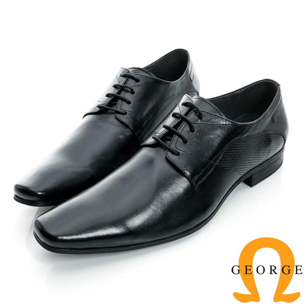 GEORGE-經典素面側沖孔拼接真皮方頭紳士鞋-黑色