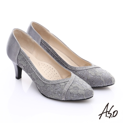 A.S.O 甜蜜樂章 優雅美型蕾絲緞布窩心高跟鞋 灰