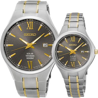 SEIKO 鈦都會時尚對錶(SNE409P1+SUT275P1)-40+30mm