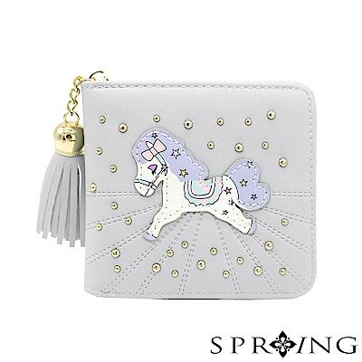SPRING-網路獨家-夢幻彩虹pony拉鍊短夾-淡淡淺灰