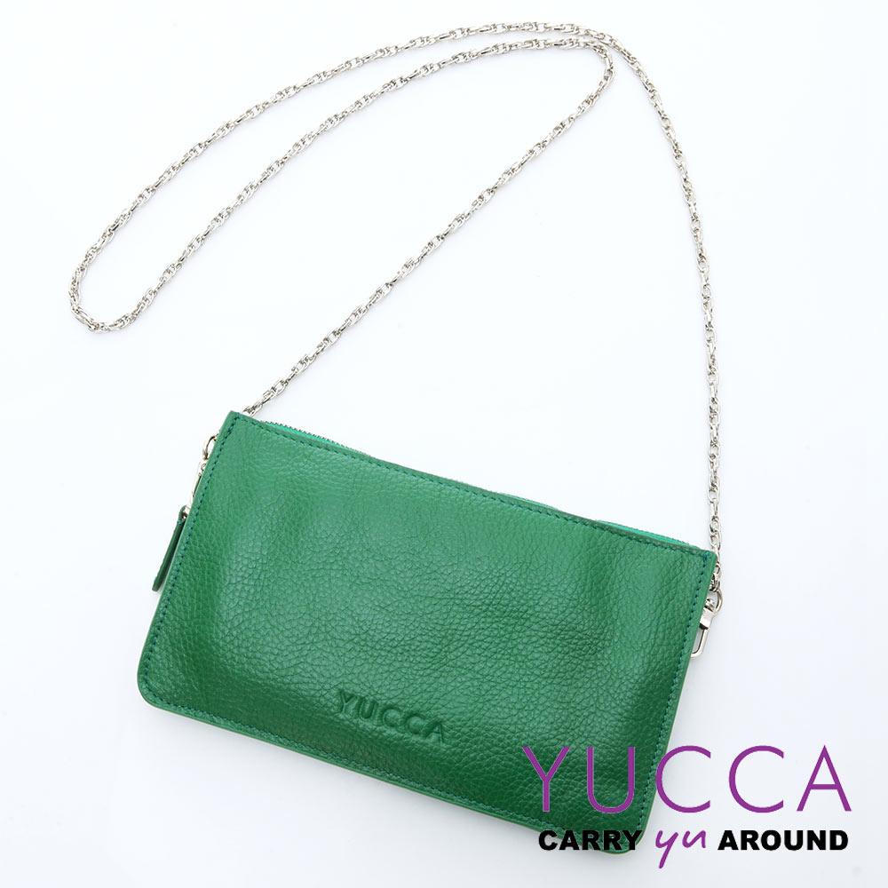 YUCCA - 牛皮淑女優雅手拿鏈帶包 - 草綠色 D0020044009
