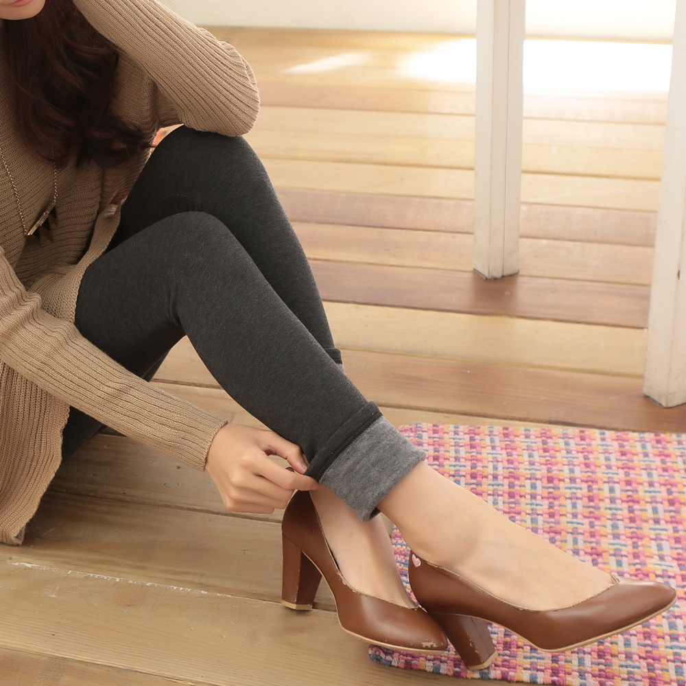 【La Belleza】穠纖合度瘦腿素色厚棉內鋪厚毛保暖內搭褲