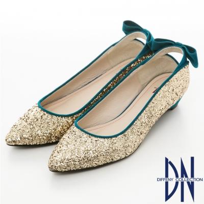 DN-魅力滿分-金蔥閃料時尚蝴蝶低跟鞋-金