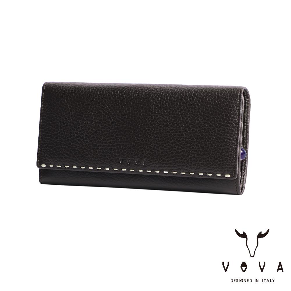 VOVA - 貝拉系列9卡荔枝紋兩折長夾 - 咖啡色