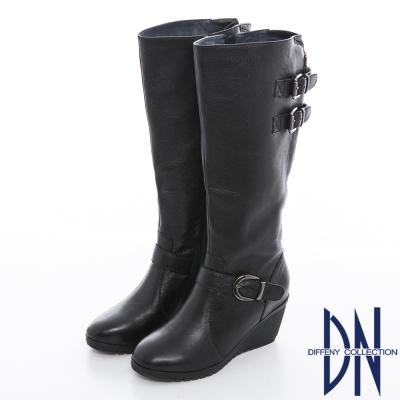 DN 時尚美型 牛皮釦環拉鍊設計楔型長靴 黑