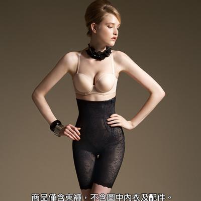 【曼黛瑪璉】魔幻美型 重機能超高腰中管束褲(黑)